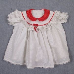 Vtg 80s Frilly Dress Peter Pan Collar Swiss Dot